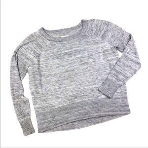 Lou & Grey Acrylic Gray Ribbed Crewneck Sweater Xs